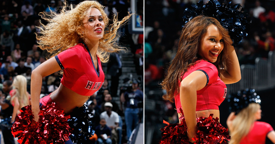 Cheerleaders do Atlanta Hawks fazem sua performance durante a derrota do time para os Spurs
