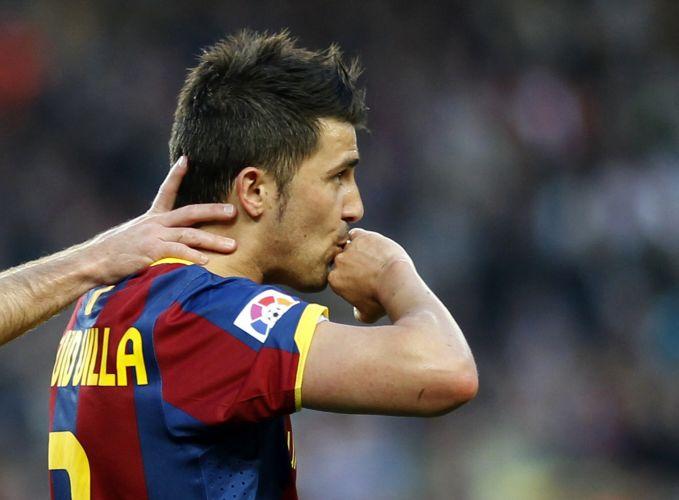 Atacante Villa comemora ao marcar na vitória do Barcelona por 2 a 0 contra o Osasuna pelo Espanhol