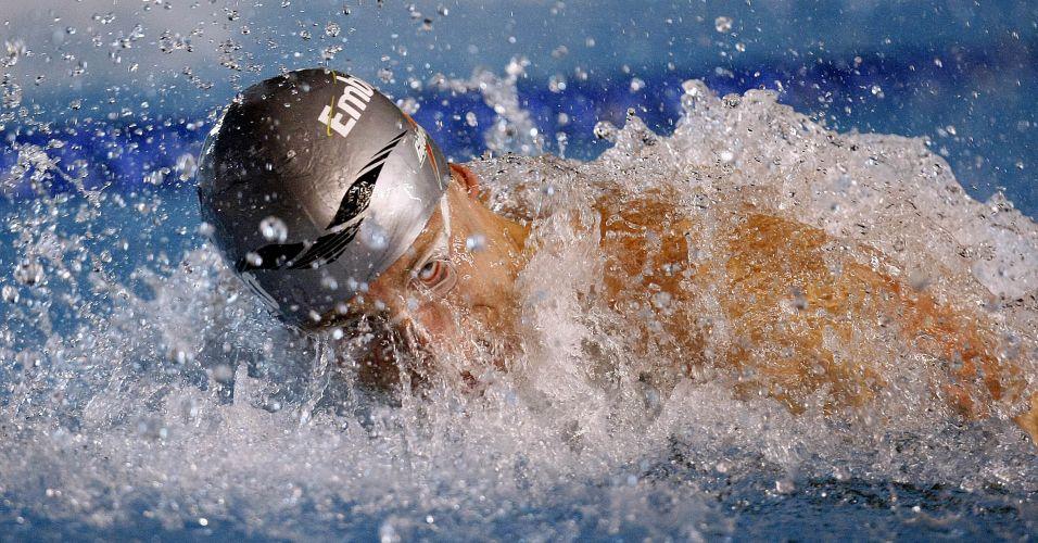Cesar Cielo nada no parque aquático Julio Delamare para vencer os 100 m borboleta no Tentativa Mundial