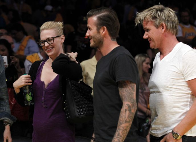 David Beckham vai ao Staples Center para acompanhar o duelo entre Los Angeles Lakers e Dallas Mavericks