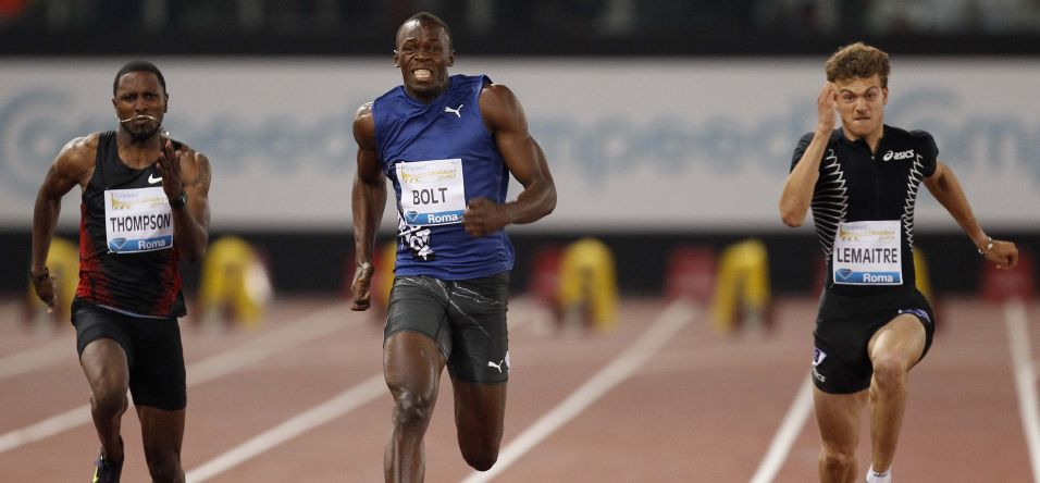 Usain Bolt, Richard Thompsone e Christophe Lemaitre of France na disputa dos 100 m, prova vencida pelo jamaicano