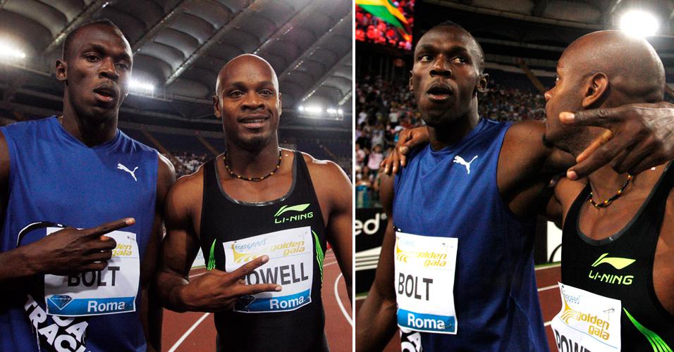 Ao lado do compatriota e arquirrival Asafa Powell, Bolt faz sua expressão de