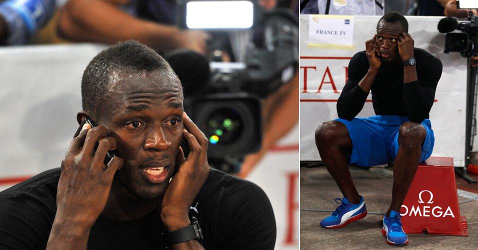 Depois da vitória e dos agradecimentos, Bolt tem tempo até de dar uma faladinha no celular, antes mesmo de deixar a pista em Roma