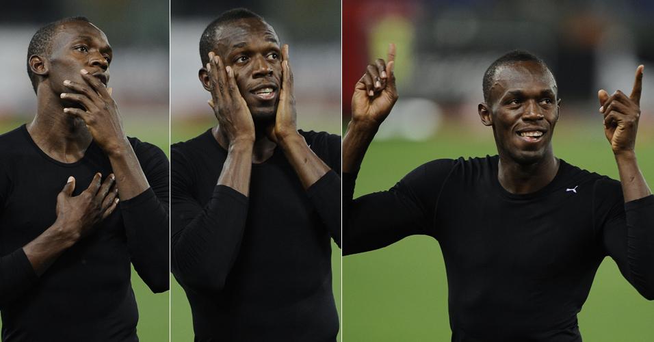 Sempre carismático, Bolt faz caras e bocas após uma noite em que foi dos sorrisos pela volta, ao susto na largada, chegando ao alívio de voltar a vencer nos 100 m rasos