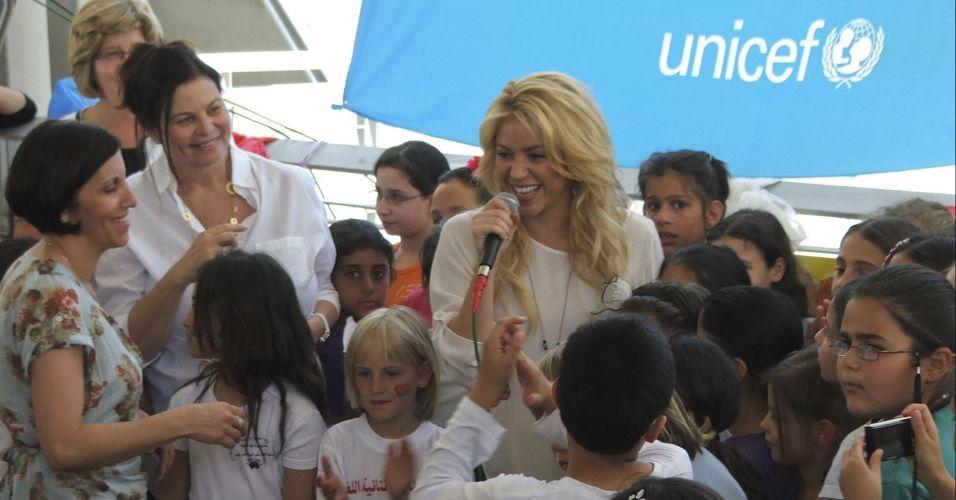 O encontra da musa com as crianças foi organizado pela Unicef