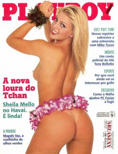 Capa de uma das edições da Playboy que Sheila Mello já protagonizou