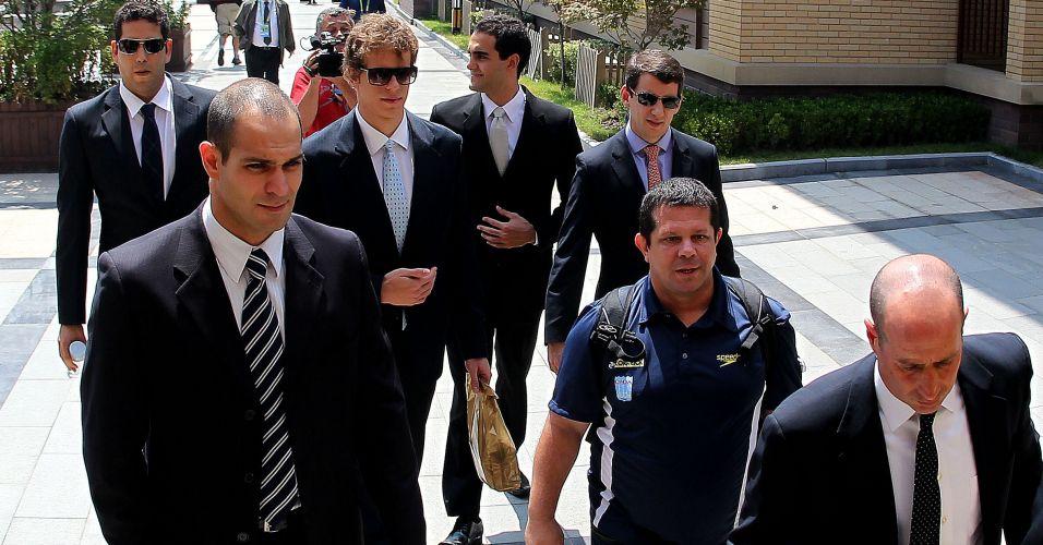 Ao lado de Henrique Barbosa, Nicholas Santos e Vinicius Waked, Cesar Cielo também é acompanhado pelo treinador Albertinho em audiência do CAS