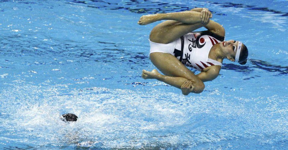 Equipe mexicana disputa prova de nado sincronizado no Mundial de Xangai (20/07/2011)