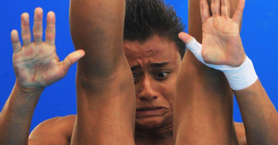 Sebastian Villa, da Colômbia, nas eliminatórias do trampolim 3 m