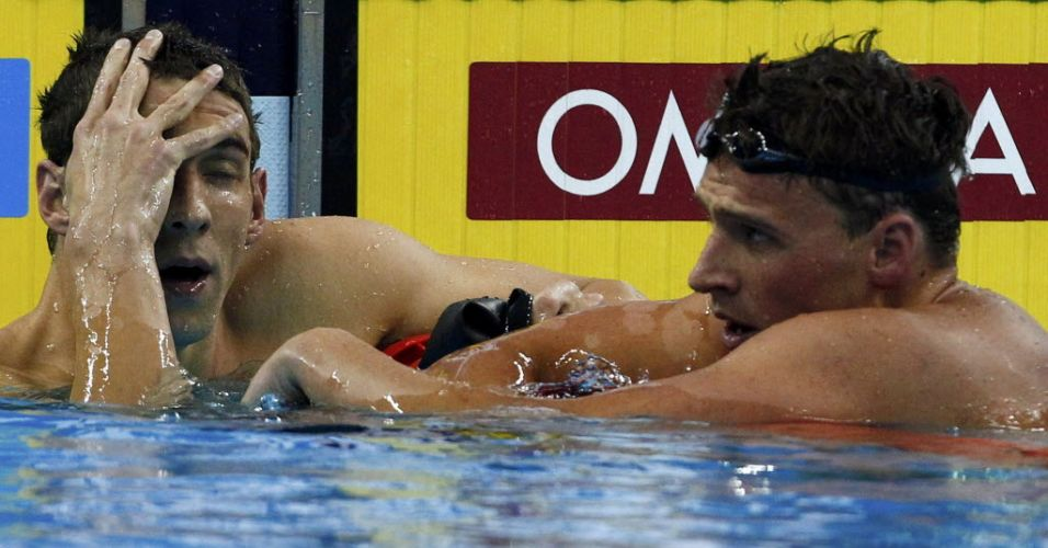 Michael Phelps lamenta derrota para o compatriota Ryan Lochte na final dos 200 m livre em Xangai