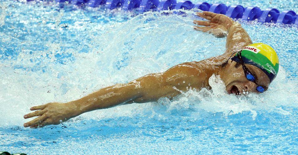 Kaio Márcio chega em terceiro em sua bateria semifinal dos 200 m borboleta, mas fica fora da final da prova