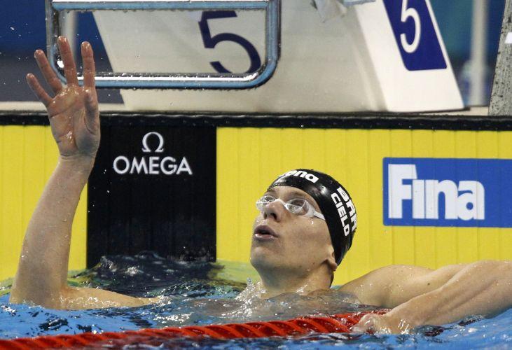 Cesar Cielo conquistou a medalha de ouro nos 50m livres no Mundial de Esportes Aquáticos, disputado em Xangai (China)