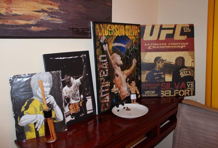 Em um cantinho especial da casa do lutador, livros, fotos e bonecos ilustram um pouco de sua vitoriosa carreira