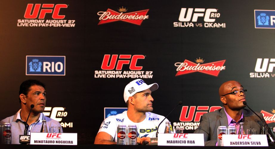 Rodrigo Minotauro, Maurcio Shogun e Anderson Silva, principais brasileiros no UFC Rio, durante a entrevista coletiva dos lutadores nesta quinta-feira