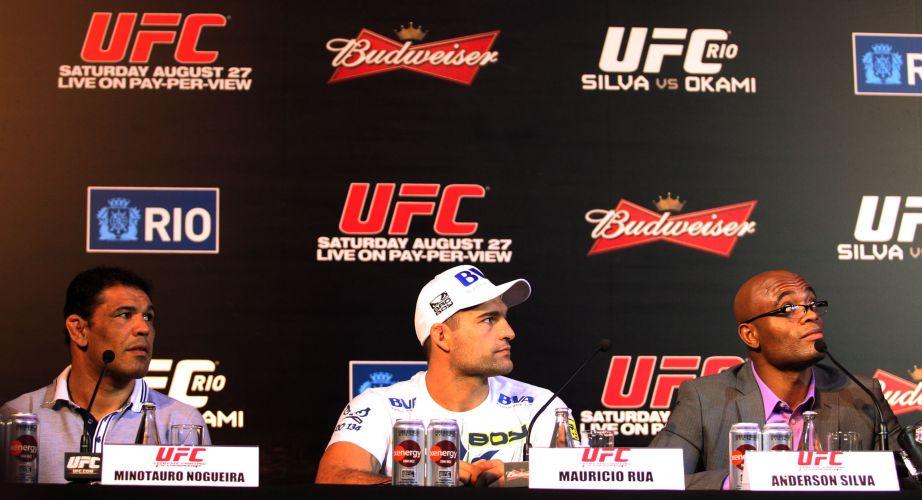 Rodrigo Minotauro, Maurício Shogun e Anderson Silva, principais brasileiros no UFC Rio, durante a entrevista coletiva dos lutadores nesta quinta-feira