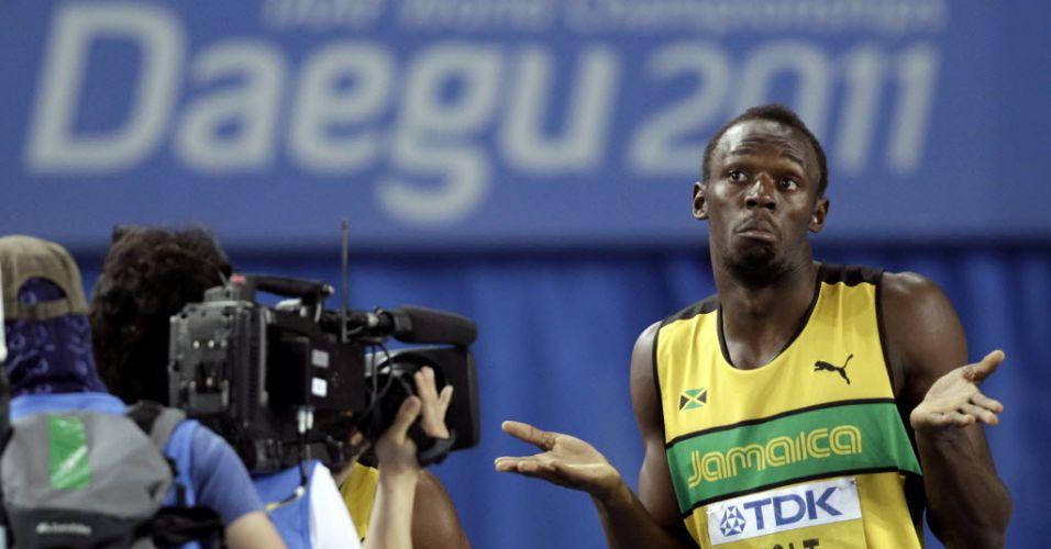 Antes de queimar a largada, Usain Bolt mostrou a habitual irreverência com as câmeras: fez caretas e mostrou o visual com cavanhaque e cabelos mais compridos