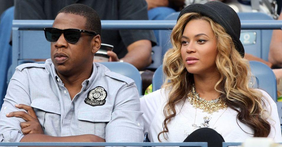 Grávida do primeiro filho, a cantora Beyoncé e o marido e também músico Jay-Z assistem à partida decisiva do Aberto dos EUA, entre Rafael Nadal e Novak Djokovic