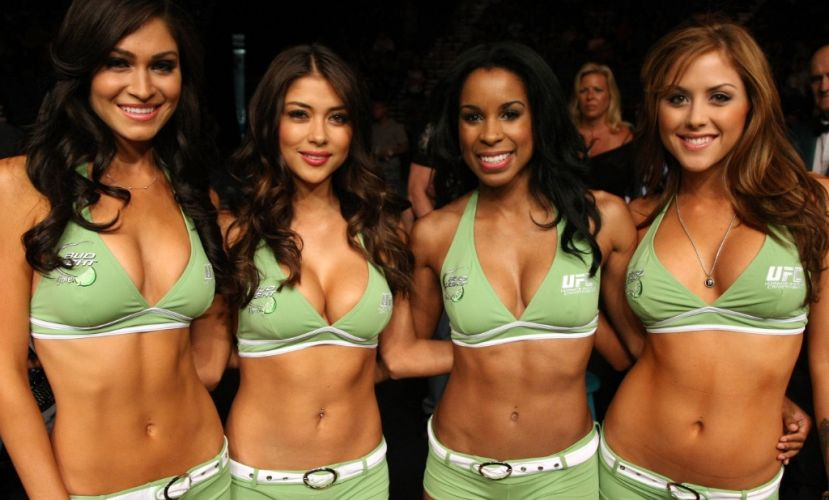 UFC:Evento mais tradicional de lutas, o UFC  conhecido pelas suas ring girls, especialmente por Arianny Celeste (segunda da esquerda para a direita), que esteve no Brasil para o UFC Rio, no ltimo ms