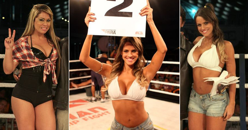 Iron Man: Ring girl Carol Dias, no centro e  esquerda,  um dos destaques do evento Iron Man