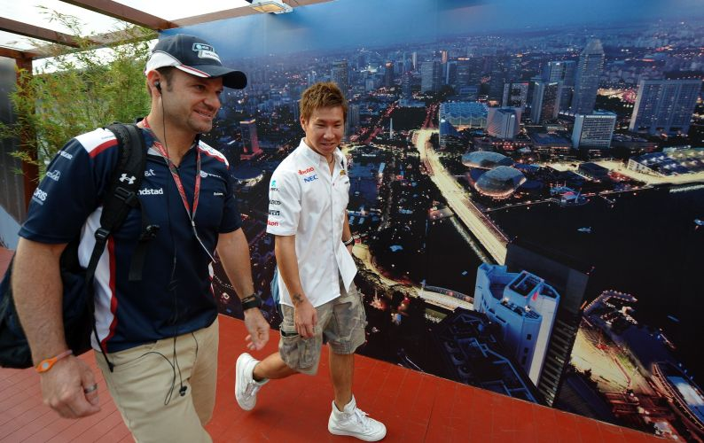 Rubens Barrichello, da Williams, chega ao circuito de Marina Bay