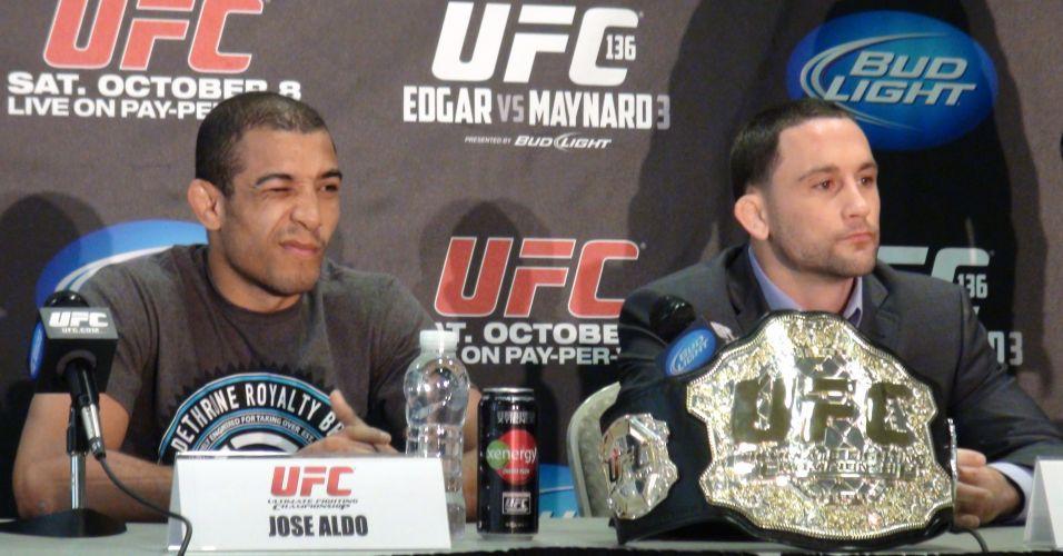 José Aldo e Frankie Edgar participam da coletiva do UFC 136