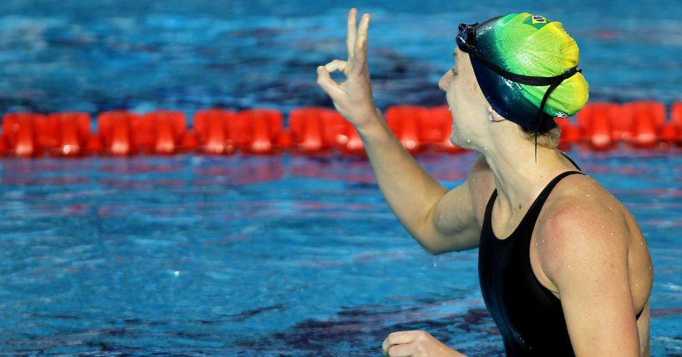 Gracielle Hermann terminou os 50 m livre em 25s23 e levou a medalha de prata