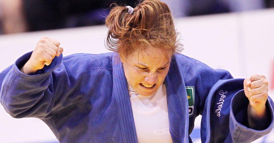 Maria Portela comemora após vencer a rival norte-americana na briga pelo bronze no Pan