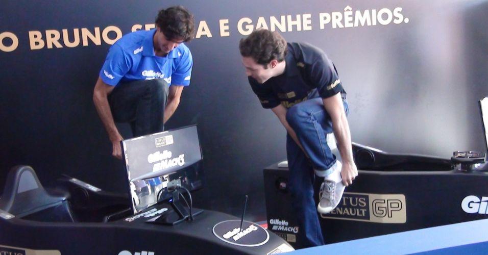 Thomaz Bellucci e Bruno Senna deixam simulador após disputarem três corridas no Ibirapuera