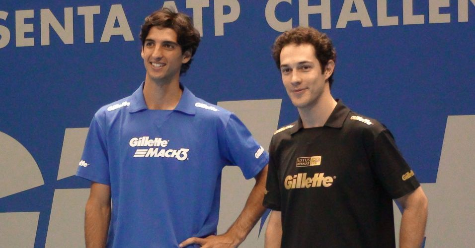Thomaz Bellucci e Bruno Senna conversam após duelos em simulador de Fórmula 1 e na quadra de tênis