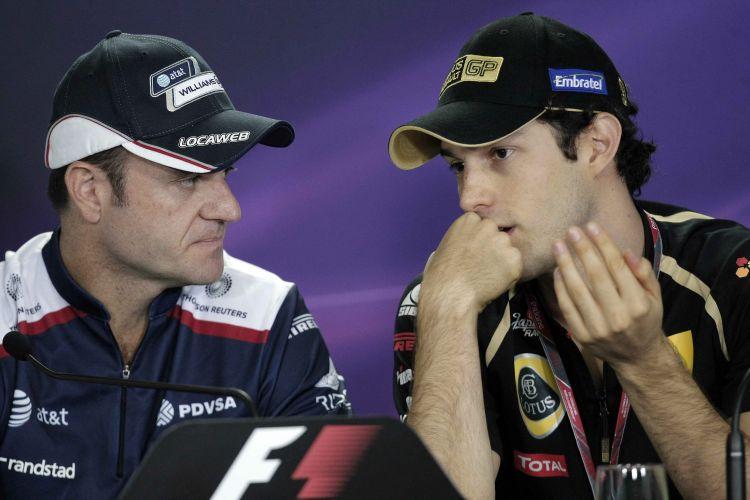 Rubens Barrichello e Bruno Senna conversam durante entrevista coletiva no circuito de Interlagos. Piloto da Williams segue com as negociações para assegurar sua continuidade na F-1 e poder completar sua 20ª temporada consecutiva