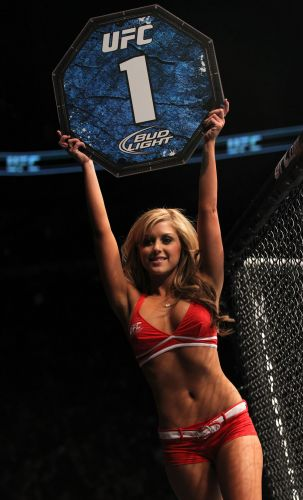 Musa Brittney Palmer retomou a funo de ring girl no UFC 140, aps deixar o evento para estudar arte