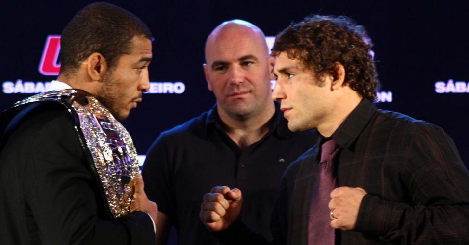Campeão dos penas, José Aldo encara Chad Mendes após coletiva para a segunda edição do UFC Rio