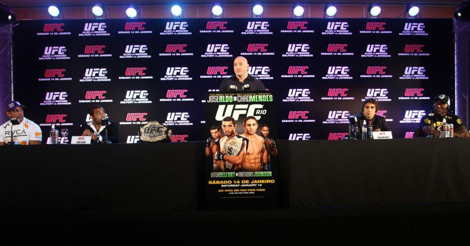 Vitor Belfort, José Aldo, Dana White, Chad Mendes e Anthony Johnson participam de coletiva do UFC Rio II, que acontece em 14 janeiro; foi anunciada a venda de ingressos para esta quarta-feira