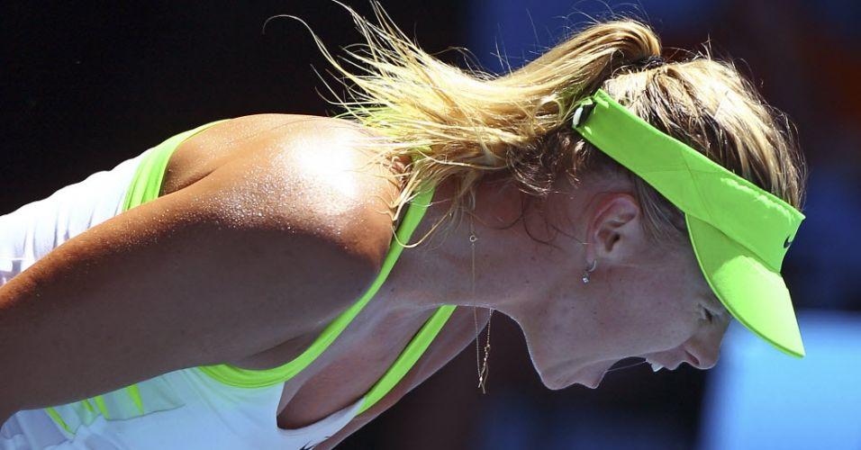 25.jan.2012 - Maria Sharapova vibra com a vitória contra Ekaterina Makarova pelas quartas de final do Aberto da Austrália