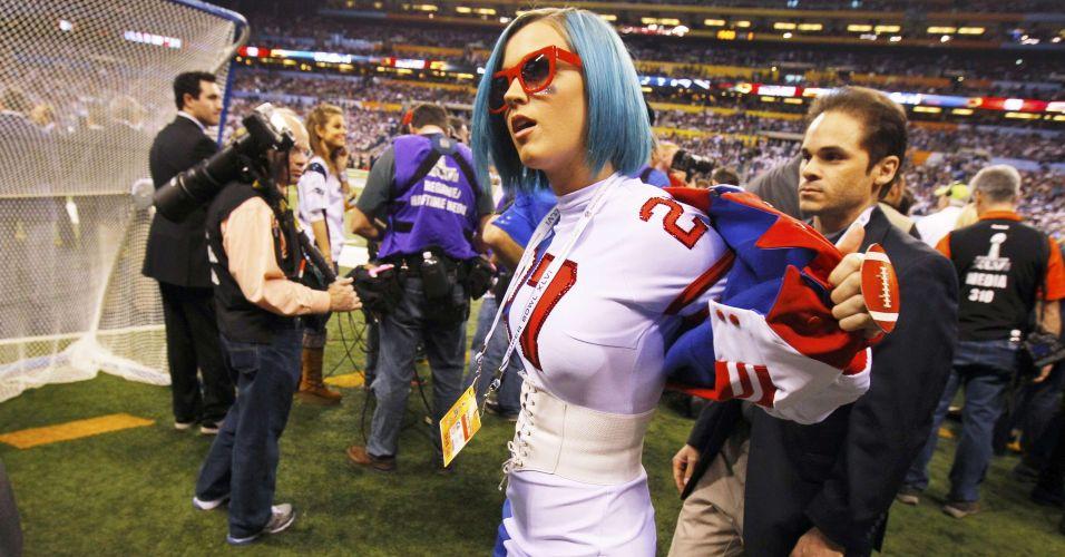 A cantora Katy Perry também compareceu ao Super Bowl