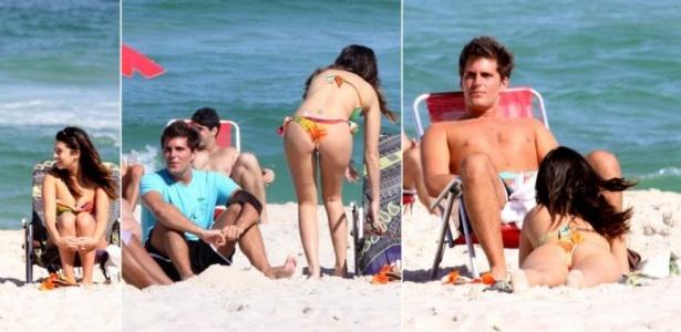 Fernanda Paes Leme e o então namorado Thiago Gagliasso tomam vento na praia da Barra