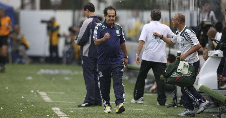 Naquele jogo de outubro de 2009, Muricy Ramalho (f) já era o técnico do Palmeiras. Do outro lado, Vanderlei Luxemburgo, antes tão contestado no time alviverde, era o treinador do Santos