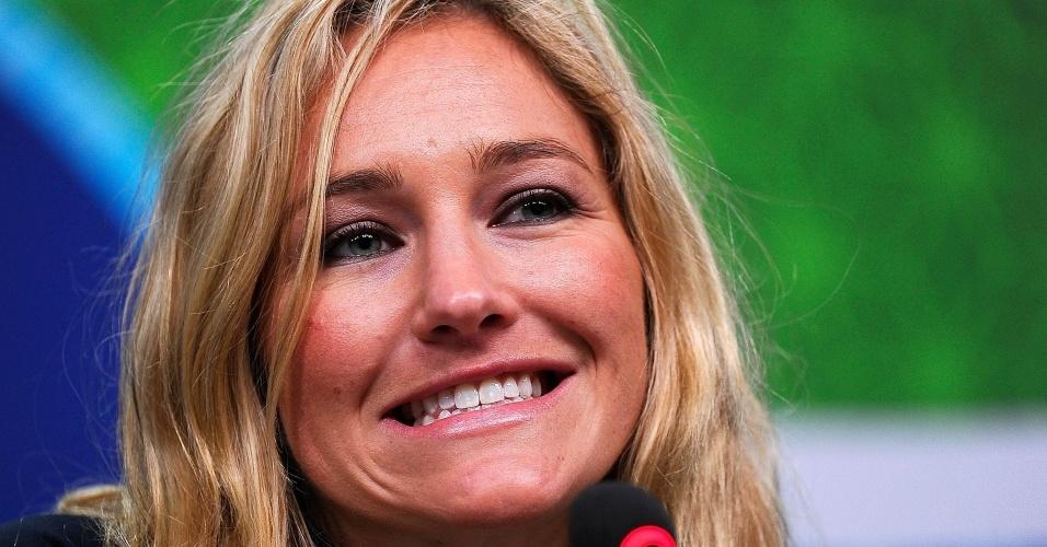 Hannah Teter, durante entrevista coletiva do time de esqui dos EUA