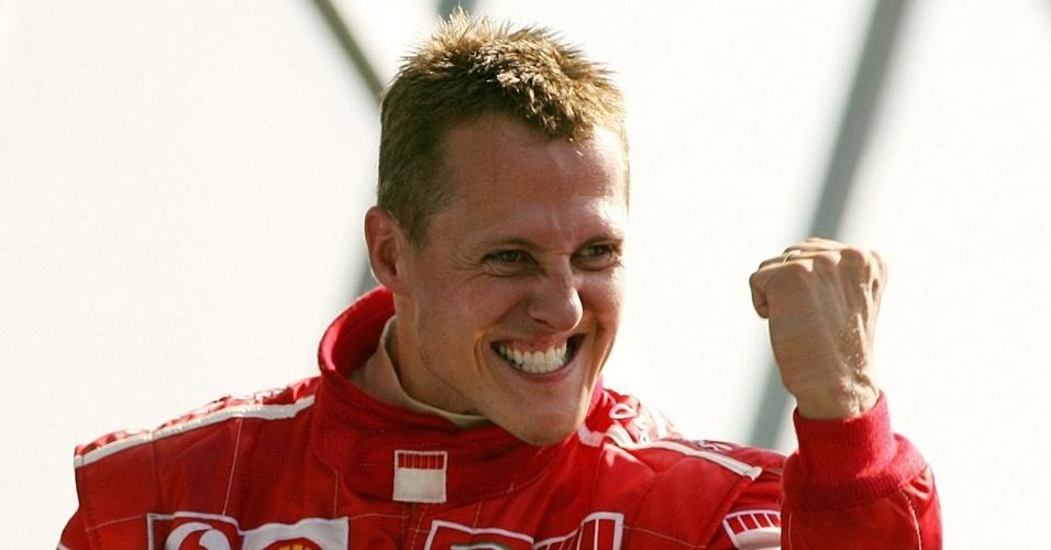 Michael Schumacher comemora vitória no GP da Itália de 2006