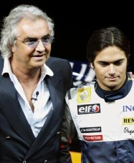 Flavio Briatore e Nelsinho Piquet, ex-companheiros na equipe Renault