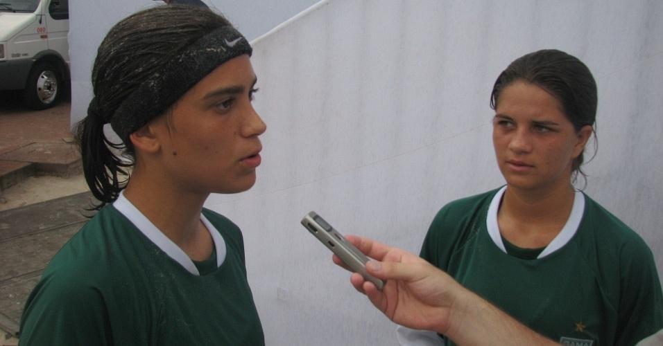 Jogadoras do Gama dão entrevista na Copa do Brasil feminina de Beach Soccer