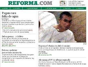 Reprodução do site do jornal Reforma, com foto de Cabñas no hospital