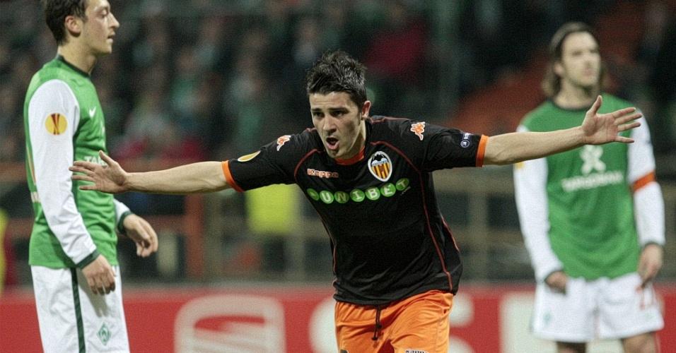 Com três gols, David Villa foi o destaque no emocionante empate por 4 a 4 entre Valencia e W. Bremen
