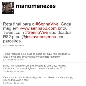 Página de Mano Menezes no twitter