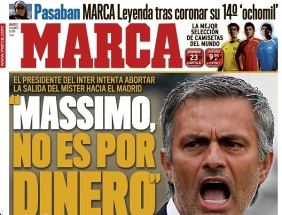 Capa do diário Marca destaca que Mourinho não ficará na Inter