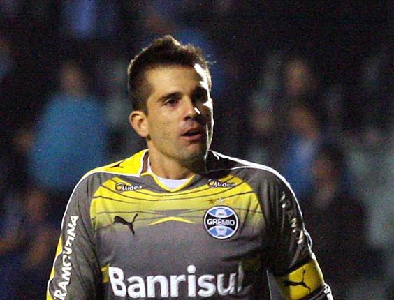 Victor, goleiro do Grêmio, na partida contra o Avaí pelo Brasileiro