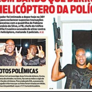 Reprodução da capa do jornal O Dia com Adriano