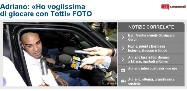 Adriano é cercado por jornalistas em sua chegada a Milão