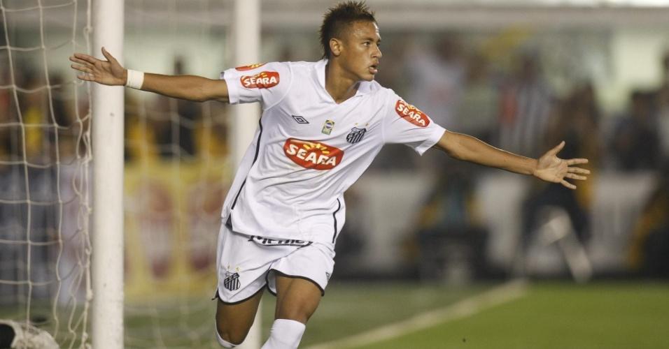 Neymar comemora após abrir o placar contra o Vitória na Copa do Brasil