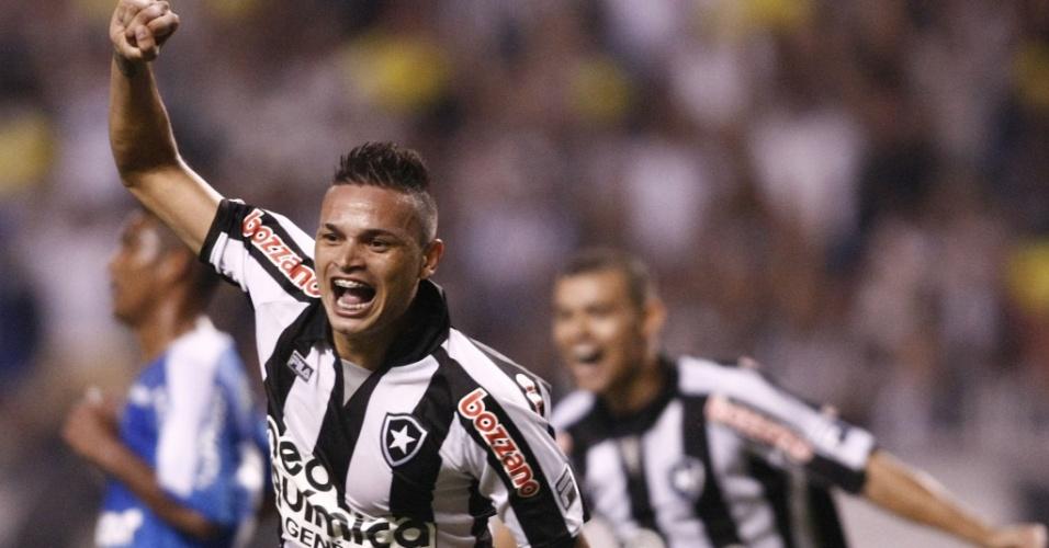 Fábio Ferreira comemora ao marcar o gol da vitória do Botafogo sobre o Avaí